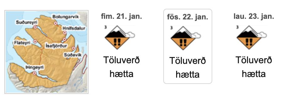 NV-Vestfirðir: Veðurstofa lýsir yfir óvissustigi vegna snjóflóðahættu